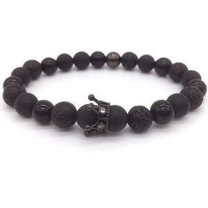 TRENDY LAVA STONE CROWN BRACELET