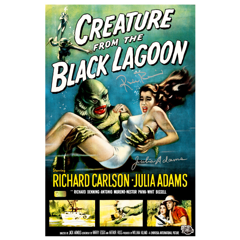 Julia Adams and Ricou Browning Autographed Creature from the Black Lagoon 11x17 Movie Poster