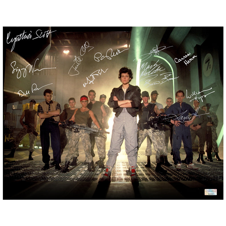 Sigourney Weaver, Bill Paxton, Lance Henriksen Aliens Cast Autographed Locked and Loaded 11x14 Photo