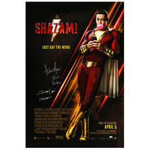 Load image into Gallery viewer, Zachary Levi, Asher Angel Autographed 2018 Shazam! Original 27x40 Double-Sided Movie Poster
