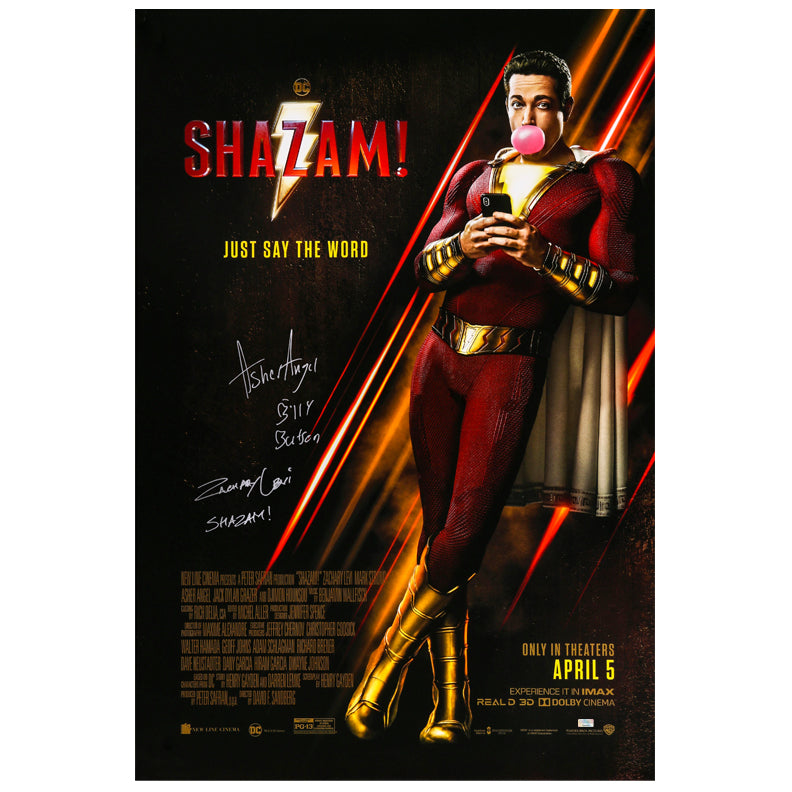 Zachary Levi, Asher Angel Autographed 2018 Shazam! Original 27x40 Double-Sided Movie Poster