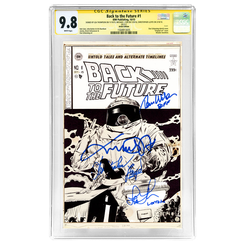 Michael J. Fox, Christopher Lloyd, Thomas Wilson, Lea Thompson Autographed Back to the Future #1 CGC SS 9.8 with Sketch Art Variant Cover