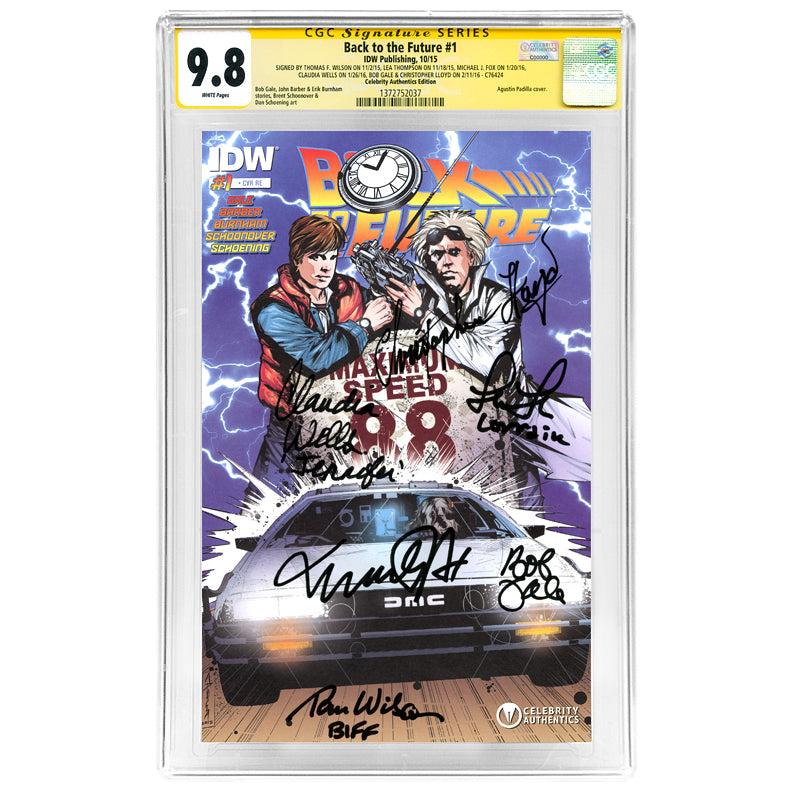 Michael J. Fox, Christopher Lloyd, Tom Wilson, Lea Thompson, Claudia Wells, Bob Gale Autographed Back to the Future #1 CGC SS 9.8