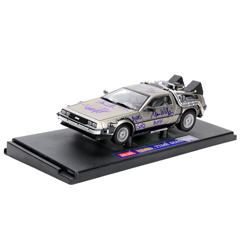 Michael J. Fox, Christopher Lloyd, Thomas Wilson, Lea Thompson, Claudia Wells and Bob Gale Autographed Back to the Future 1:18 Scale Die-Cast DeLorean