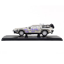 Load image into Gallery viewer, Michael J. Fox, Christopher Lloyd, Thomas Wilson, Lea Thompson, Claudia Wells and Bob Gale Autographed Back to the Future 1:18 Scale Die-Cast DeLorean