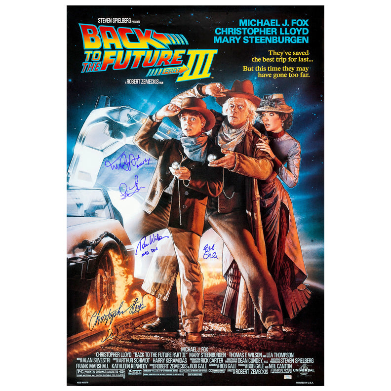 Michael J. Fox, Christopher Lloyd, Thomas Wilson, Lea Thompson and Bob Gale Autographed 27×40 Back to the Future Part III Poster