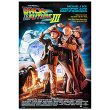 Load image into Gallery viewer, Michael J. Fox, Christopher Lloyd, Thomas Wilson, Lea Thompson and Bob Gale Autographed 27×40 Back to the Future Part III Poster