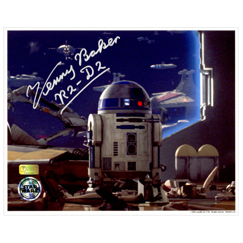 Kenny Baker Autographed Star Wars R2-D2 Battle View 8x10 Photo
