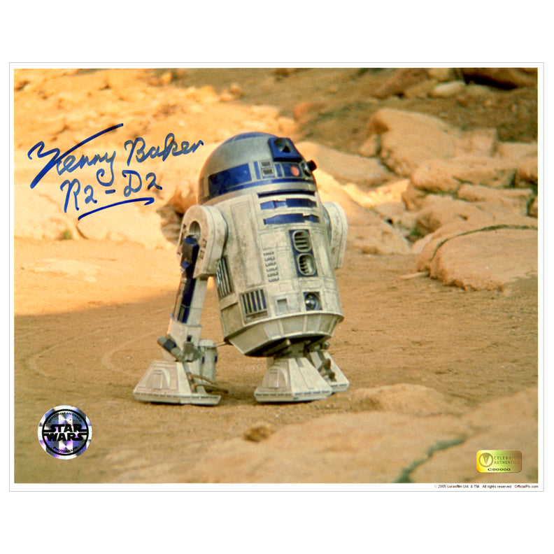 Kenny Baker Autographed Star Wars Desert Scene R2-D2 8x10 Photo