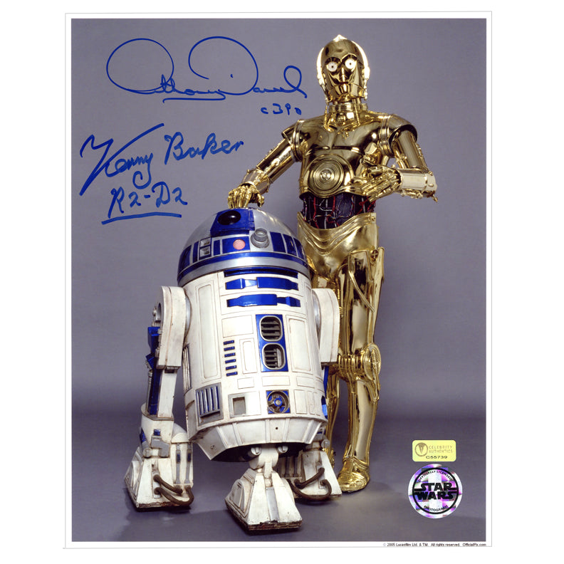 Kenny Baker and Anthony Daniels Autographed Star Wars R2-D2 and C-3PO 8x10 Studio Photo