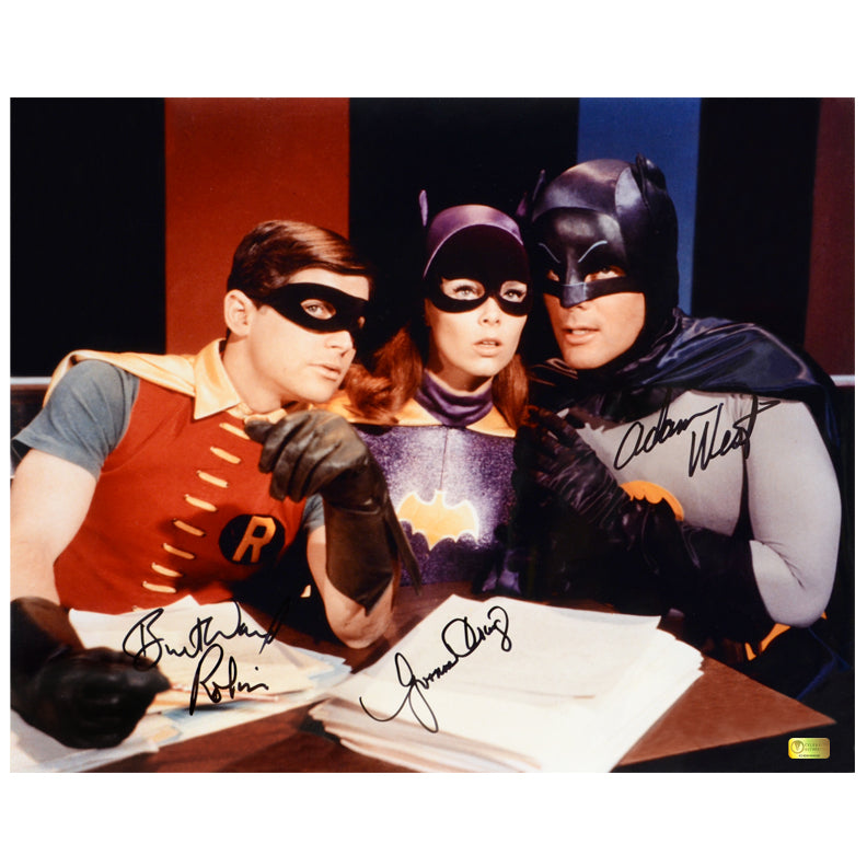 Adam West, Burt Ward and Yvonne Craig Autographed Batman Master Plan 16x20 Photo