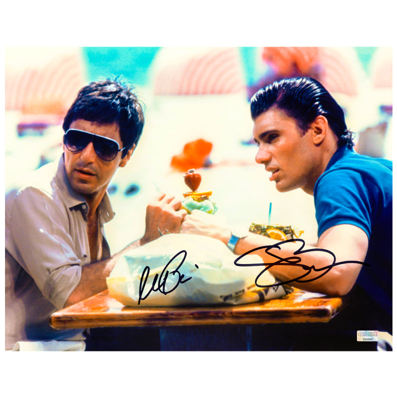 Al Pacino, Steven Bauer Autographed Scarface Tony Montana and Manny Ribera 11x14 Scene Photo