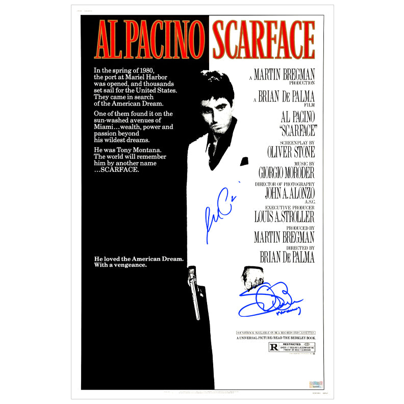 Al Pacino, Steven Bauer Autographed Scarface 16x24 Movie Poster