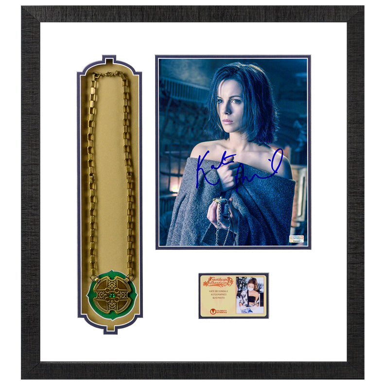 Kate Beckinsale Autographed Underworld Selene 8x10 Photo with Lucian's Pendant Framed Display