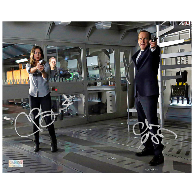 Clark Gregg and Chloe Bennet Autographed Agents of S.H.I.E.L.D. 8x10 Scene Photo
