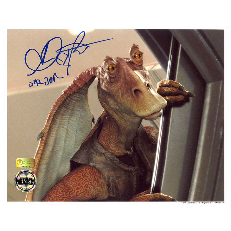 Ahmed Best Autographed Star Wars Jar Jar Binks 8x10 Scene Photo
