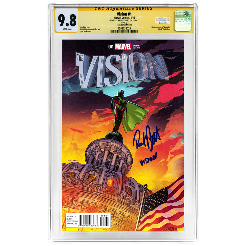 Paul Bettany Autographed 2016 The Vision #1 Sook Variant Cover CGC Signature Series SS 9.8 Mint