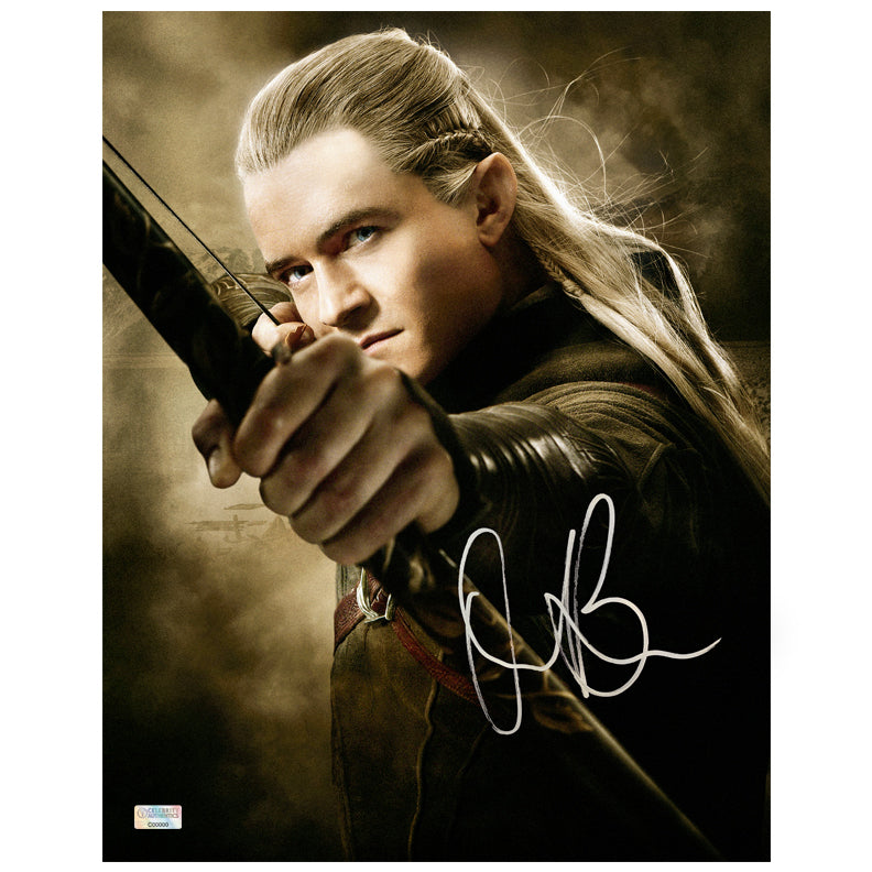 Orlando Bloom Autographed The Lord of the Rings Legolas 11x14 Action Photo