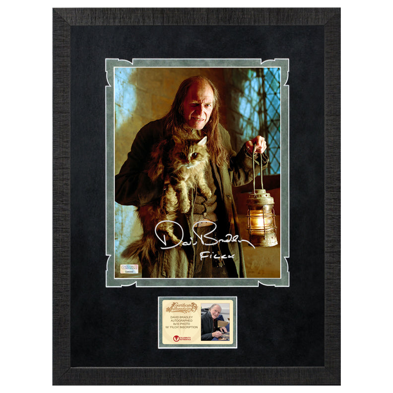 David Bradley Autographed Harry Potter Argus Filch and Mrs. Norris 8x10 Photo