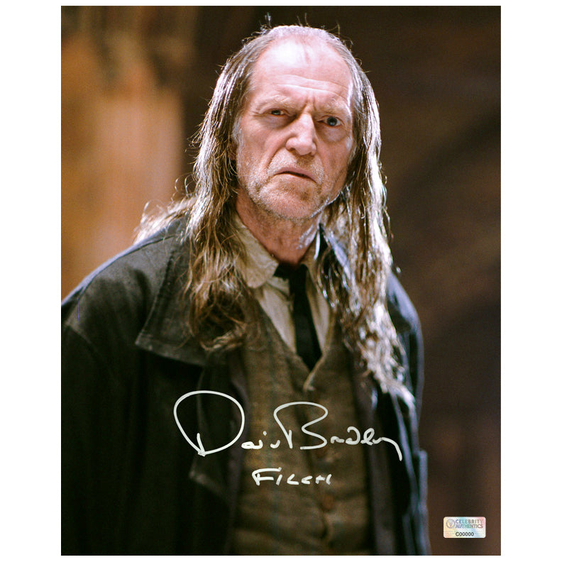 David Bradley Autographed Harry Potter Argus Filch 8x10 Close Up Photo