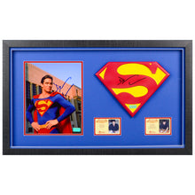Load image into Gallery viewer, Dean Cain Autographed Lois & Clark The New Adventures of Superman 1:1 Scale Superman Emblem and 8×10 Scene Photo Framed Display Set