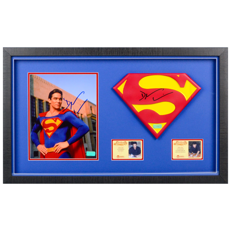 Dean Cain Autographed Lois & Clark The New Adventures of Superman 1:1 Scale Superman Emblem and 8×10 Scene Photo Framed Display Set