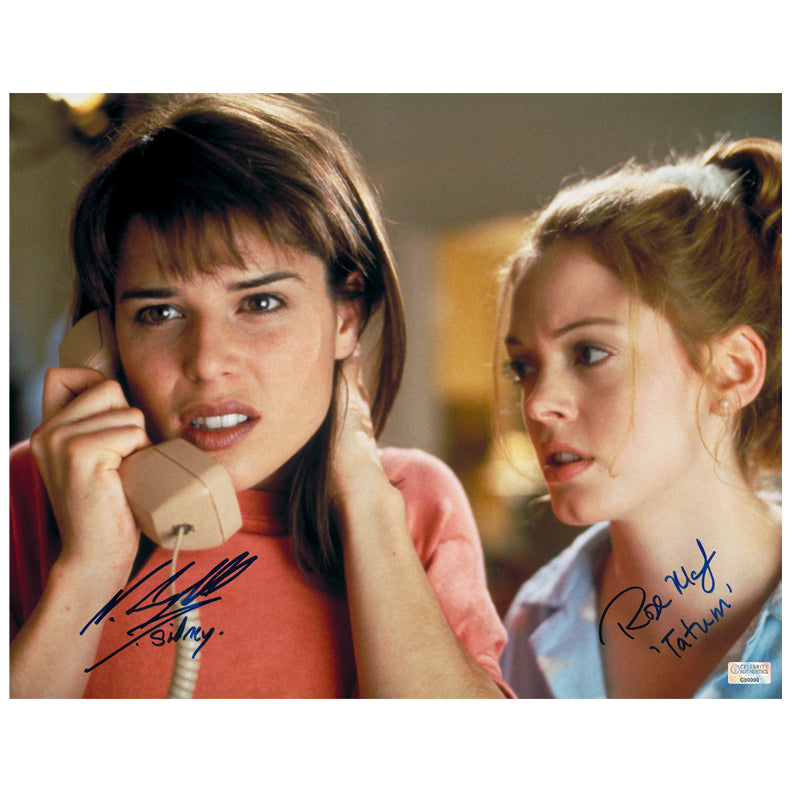 Neve Campbell, Rose McGowan Autographed Scream Sidney Prescott and Tatum Riley 11x14 Scene Photo
