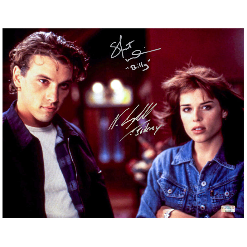 Neve Campbell, Skeet Ulrich Autographed Scream Sidney Prescott and Billy Loomis 11x14 Scene Photo