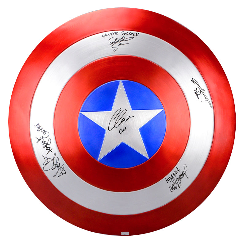 Chris Evans, Samuel L. Jackson, Sebastian Stan, Hayley Atwell and Anthony Mackie Autographed Captain America EFX Prop Replica Shield