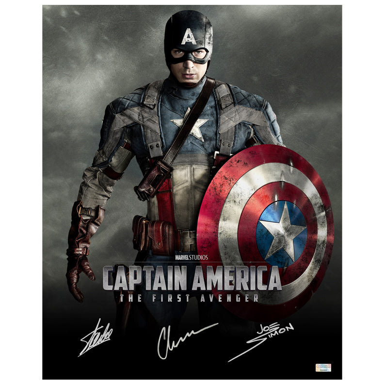 Chris Evans, Stan Lee and Joe Simon Autographed Captain America The First Avenger 16x20 Photo