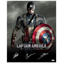 Load image into Gallery viewer, Chris Evans, Stan Lee and Joe Simon Autographed Captain America The First Avenger 16x20 Photo