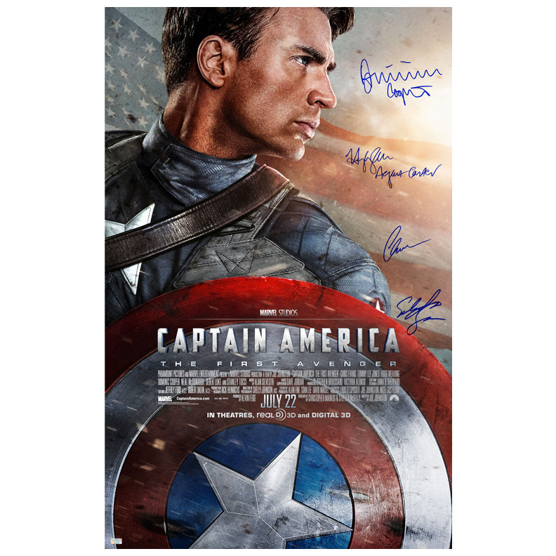 Chris Evans, Sebastian Stan, Hayley Atwell and Dominic Cooper Autographed Captain America: The First Avenger 27x40 Poster