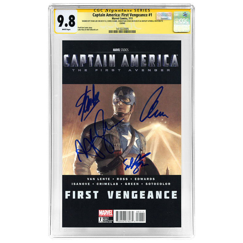 Chris Evans, Sebastian Stan, Hayley Atwell, Stan Lee Autographed Captain America The First Avenger First Vengeance #1 CGC SS 9.8