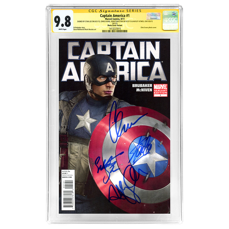 Stan Lee, Chris Evans, Sebastian Stan, Hayley Atwell Autographed Captain America #1 CGC SS 9.8