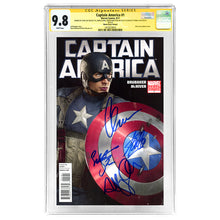 Load image into Gallery viewer, Stan Lee, Chris Evans, Sebastian Stan, Hayley Atwell Autographed Captain America #1 CGC SS 9.8