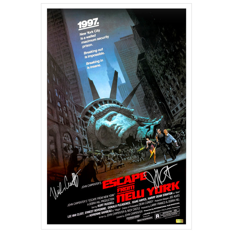 Nick Castle and John Carpenter Autographed Escape from New York 16x24 Poster