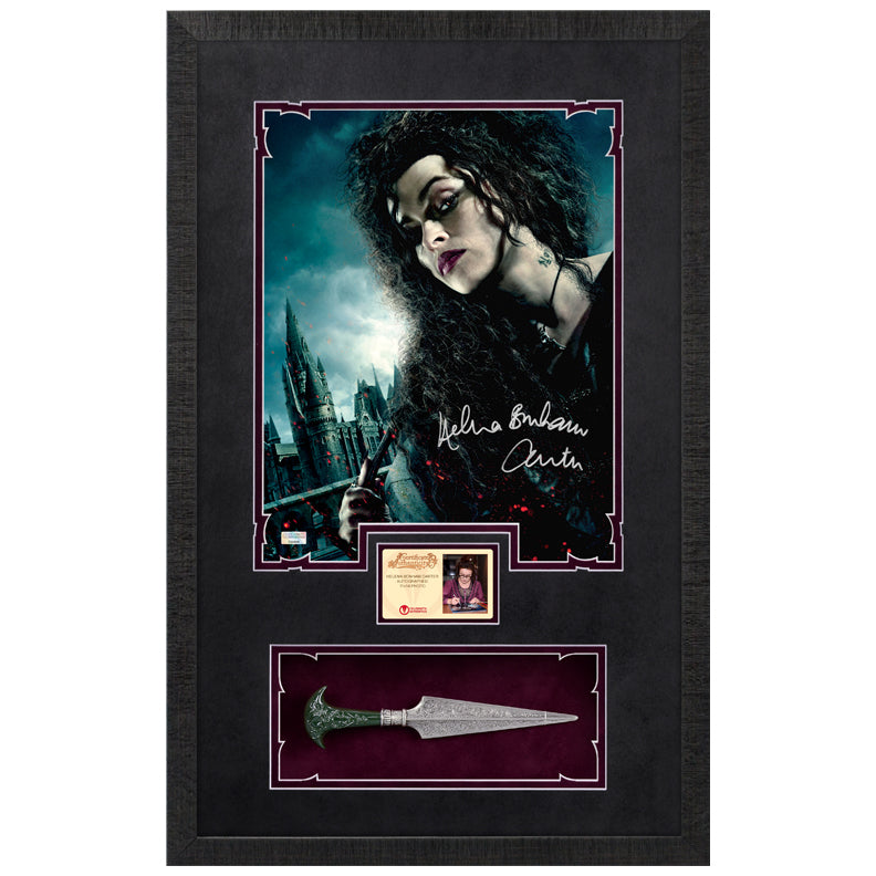 Helena Bonham Carter Autographed Harry Potter Bellatrix 11x14 Photo with Dagger Display