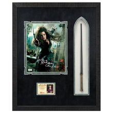 Load image into Gallery viewer, Helena Bonham Carter Autographed Harry Potter Bellatrix Lestrange 8×10 Photo With Wand Framed Display