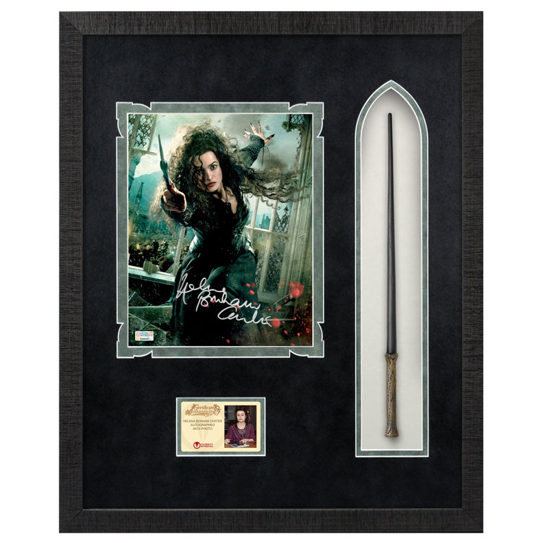 Helena Bonham Carter Autographed Harry Potter Bellatrix Lestrange 8×10 Photo With Wand Framed Display
