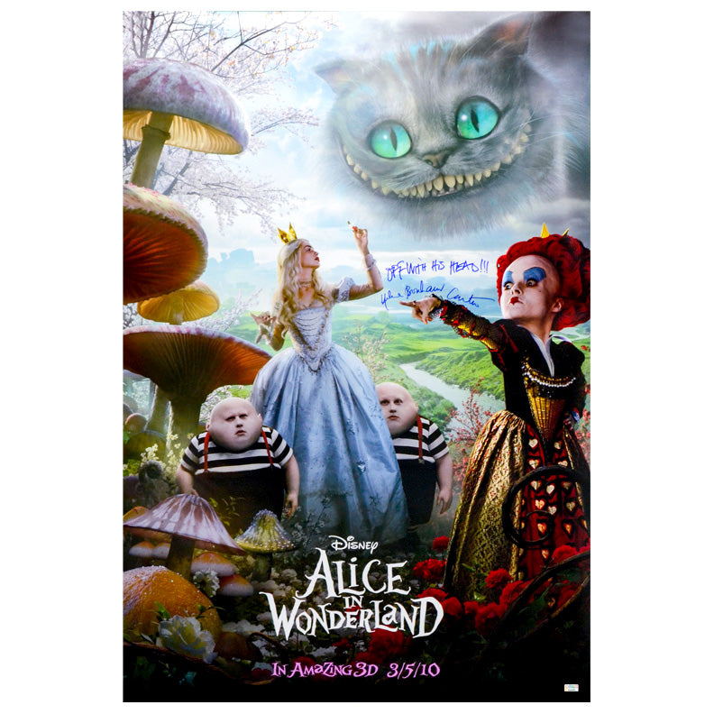 Helena Bonham Carter Autographed Alice in Wonderland Original 27x40 Double-Sided Movie Poster with Rare Off With Her Head! Inscription
