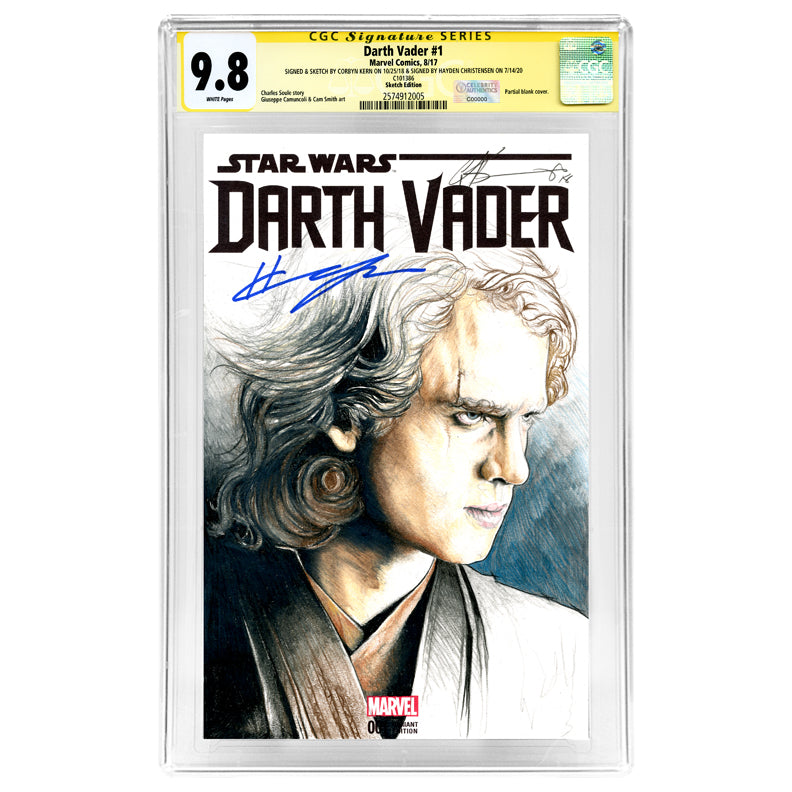 Hayden Christensen Autographed Star Wars Darth Vader #1 CGC SS 9.8 (mint) with Corbyn Kern Original Sketch Variant Cover