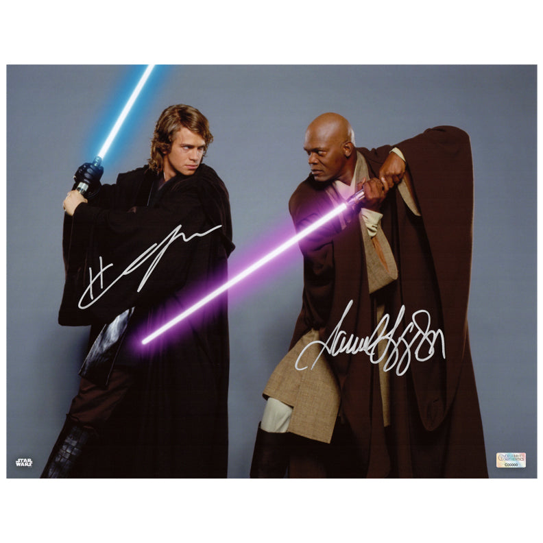 Hayden Christensen Samuel L. Jackson Autographed Star Wars Anakin Skywalker and Mace Windu 11x14 Photo