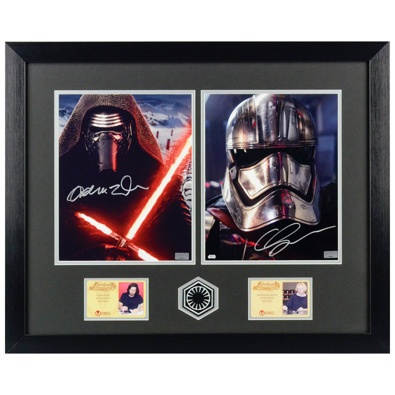 Adam Driver and Gwendoline Christie Autographed Star Wars The Force Awakens 8x10 Framed Photos