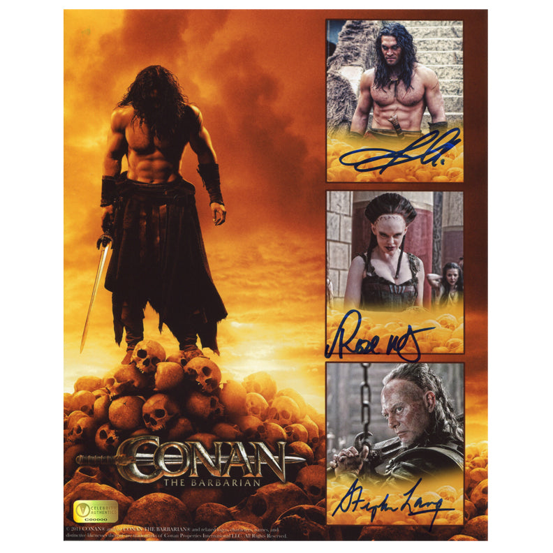 Jason Momoa, Stephen Lang and Rose McGowan Autographed Conan the Barbarian Collage 8x10 Photo