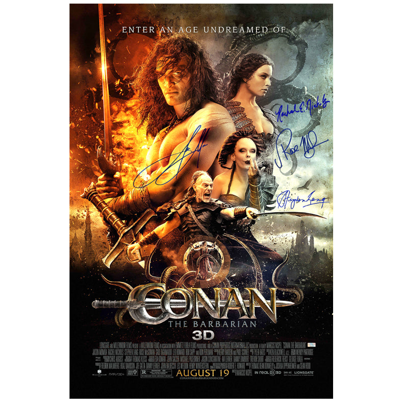 Jason Momoa, Rose McGowan, Rachel Nichols and Stephen Lang Signed Conan the Barbarian 27x40 Original Movie Poster