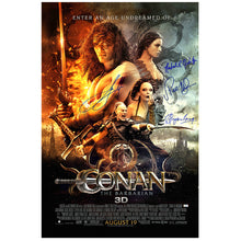 Load image into Gallery viewer, Jason Momoa, Rose McGowan, Rachel Nichols and Stephen Lang Signed Conan the Barbarian 27x40 Original Movie Poster