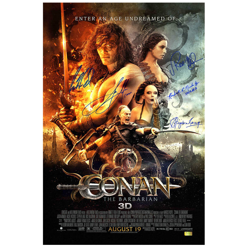 Jason Momoa, Rose McGowan, Rachel Nichols, Stephen Lang, and Leo Howard Signed Conan the Barbarian 16×24 Poster