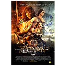 Load image into Gallery viewer, Jason Momoa, Rose McGowan, Rachel Nichols, Stephen Lang, and Leo Howard Signed Conan the Barbarian 16×24 Poster