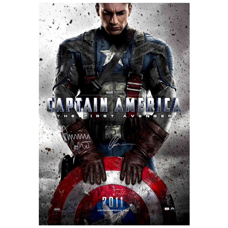 Chris Evans and Dominic Cooper Autographed Captain America: The First Avenger 27x40 Original Movie Poster