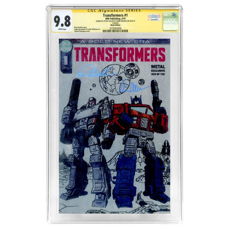 Peter Cullen and Frank Welker Autographed Transformers #1 CGC SS 9.8 Metal Edition Variant